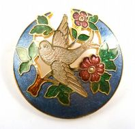 Vintage Fish And Crown Brooch Cloisonne Enamel Blue Bird And Tree Design.